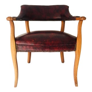 Vintage Leather Wine Color Side Chair For Sale