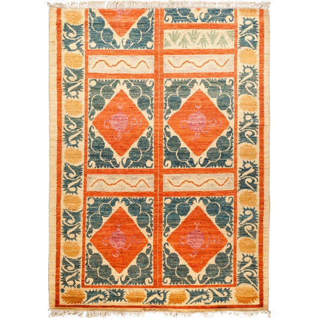 Orange and Green Tribal Rug For Sale - Image 4 of 4