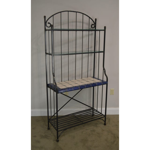 High Quality Heavy Forged Iron Bakers Rack with Glass and Tile Shelves