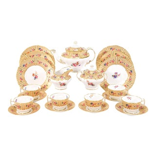 Copeland Spode for Tiffany Dessert & Tea Set for 12 Floral Japonesque Service For Sale
