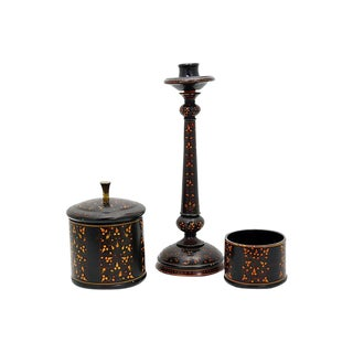 19th Century Antique English Tole Smoking Set- 3 Pieces For Sale