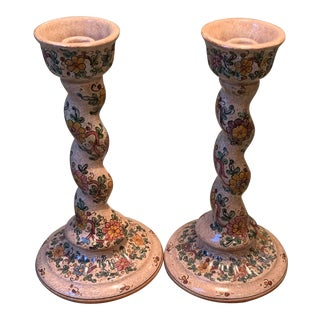 Italian Hand Painted Ceramic Candlesticks - a Pair For Sale