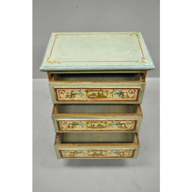 Antique Italian Venetian Blue Painted 3 Drawer Commode Chest of Drawers For Sale In Philadelphia - Image 6 of 13