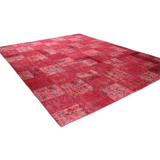 """9'1"""" X 11'8"""" Red Turkish Patchwork Rug For Sale"""