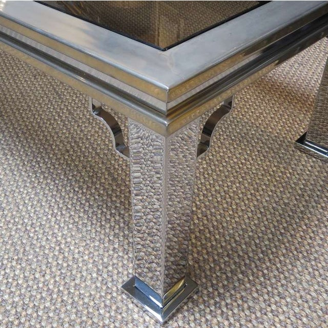Maison Jansen Style Chrome and Glass Coffee Table - Image 4 of 5