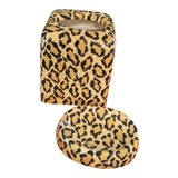 Image of Ceramic Leopard Bathroom Tissue Box and Soap Dish Accessories For Sale