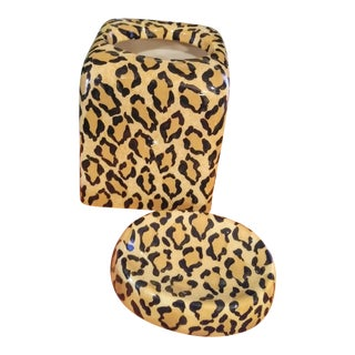 Ceramic Leopard Bathroom Tissue Box and Soap Dish Accessories For Sale