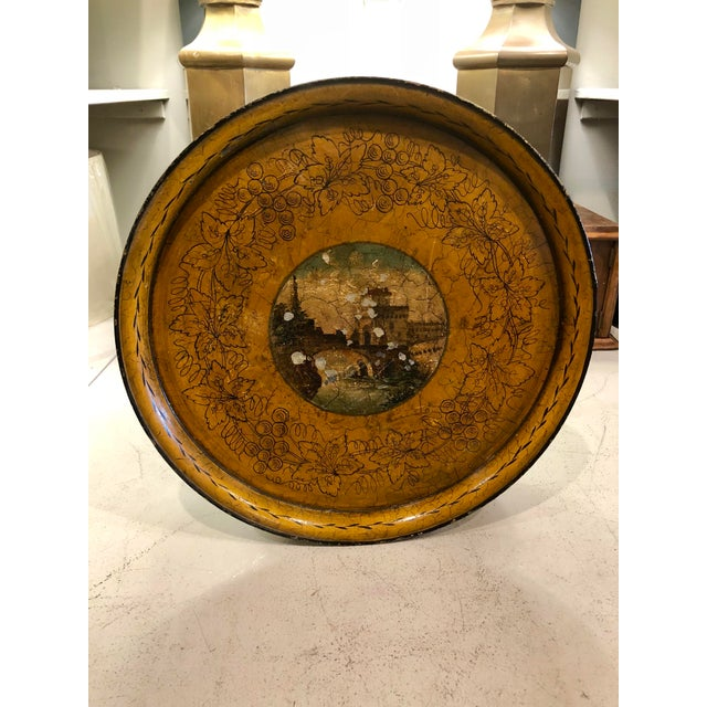 Early 20th Century 20th Century Cottage Hand Painted Tole Tray For Sale - Image 5 of 5