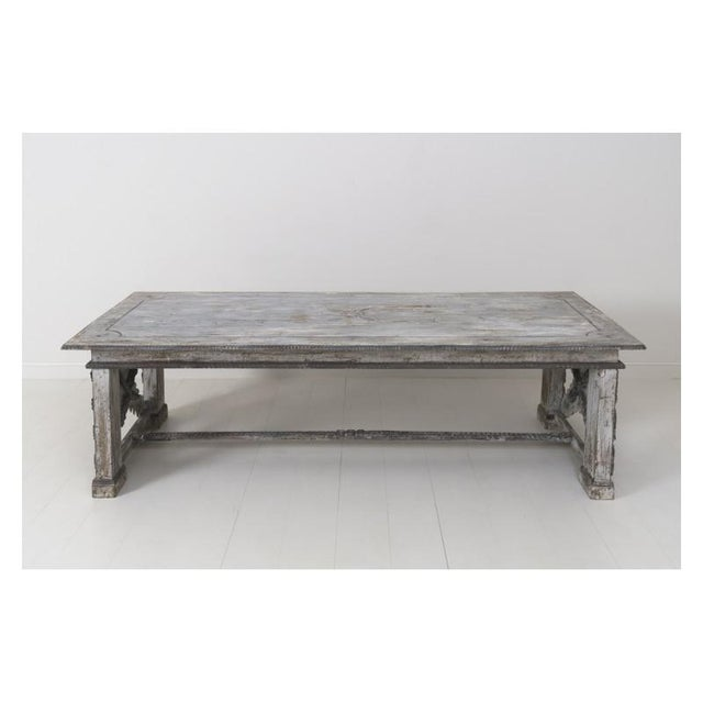Mid 19th Century 19th Century Large Tuscan Richly Carved Trestle Table For Sale - Image 5 of 11