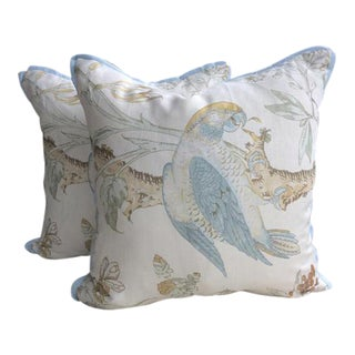 Lee Jofa Pillows in Blue & Gold Somerfield Parrot Linen - a Pair For Sale