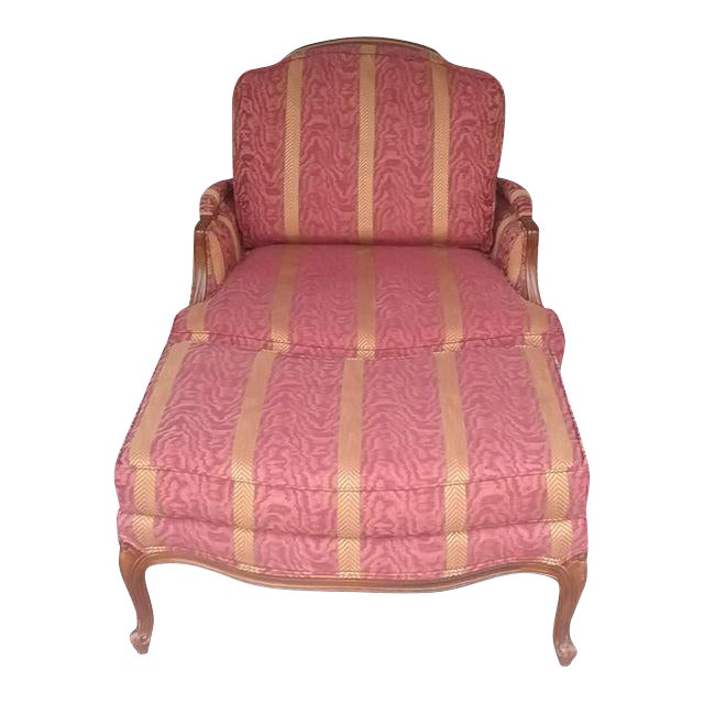 Ethan Allen French Bergere Chair & Ottoman | Chairish