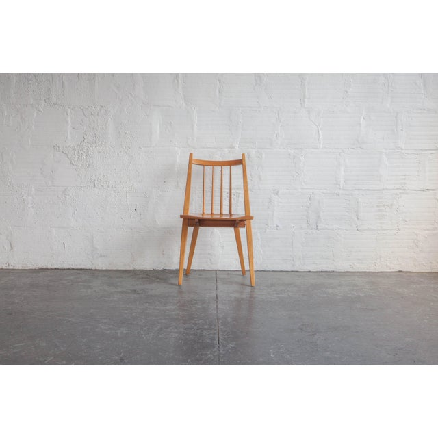 Mid-Century Modern 1970s Mid-Century Modern Maple Dining Chairs - Set of 4 For Sale - Image 3 of 8