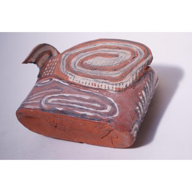 Terra Cotta Crude Terracotta Catch-All / Vase With Applied Details Signed For Sale - Image 8 of 13