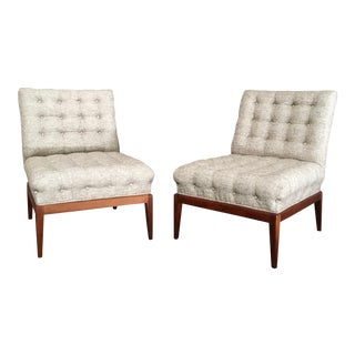 Mid-Century Modern Kipp Stewart Tufted Slipper Chairs - a Pair