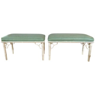 Hollywood Regency Style Bamboo Form Benches - A Pair
