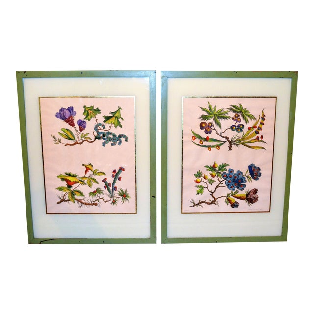 French Chinoiserie Hand Colored Floral Prints - Image 1 of 11