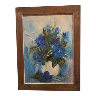 Clara Clayton Impressionist Original Oil of Blue Flowers on Board Painting, Signed For Sale