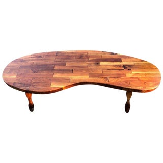 1960a Mid-Century Modern Kidney Shaped Wooden Coffee Table