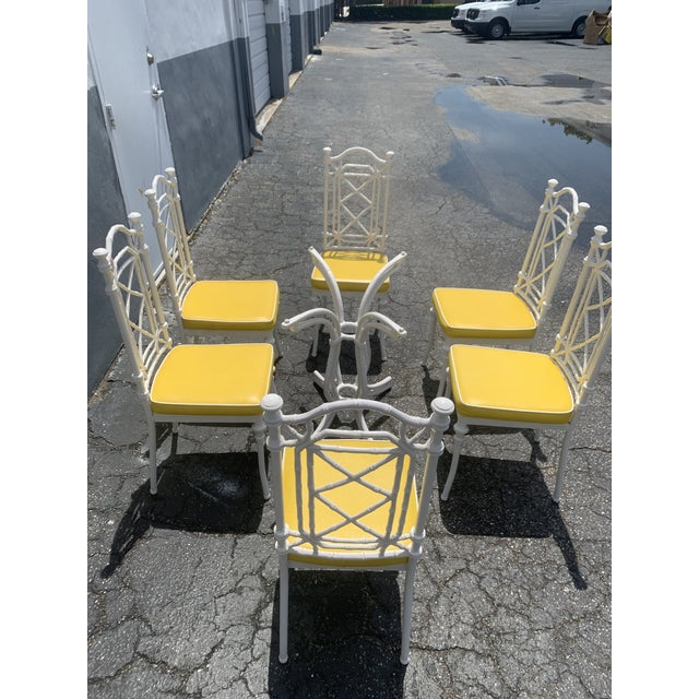 Vintage Kessler Chinoiserie Faux Bamboo Dining Set - 7 Pieces For Sale - Image 9 of 13
