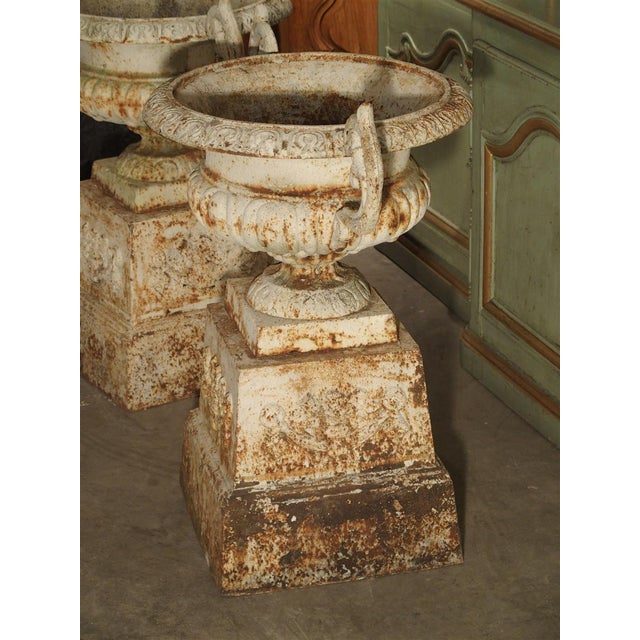 Pair of Antique Cast Iron Vases on Pedestals From Besancon France, Circa 1915 For Sale - Image 12 of 13