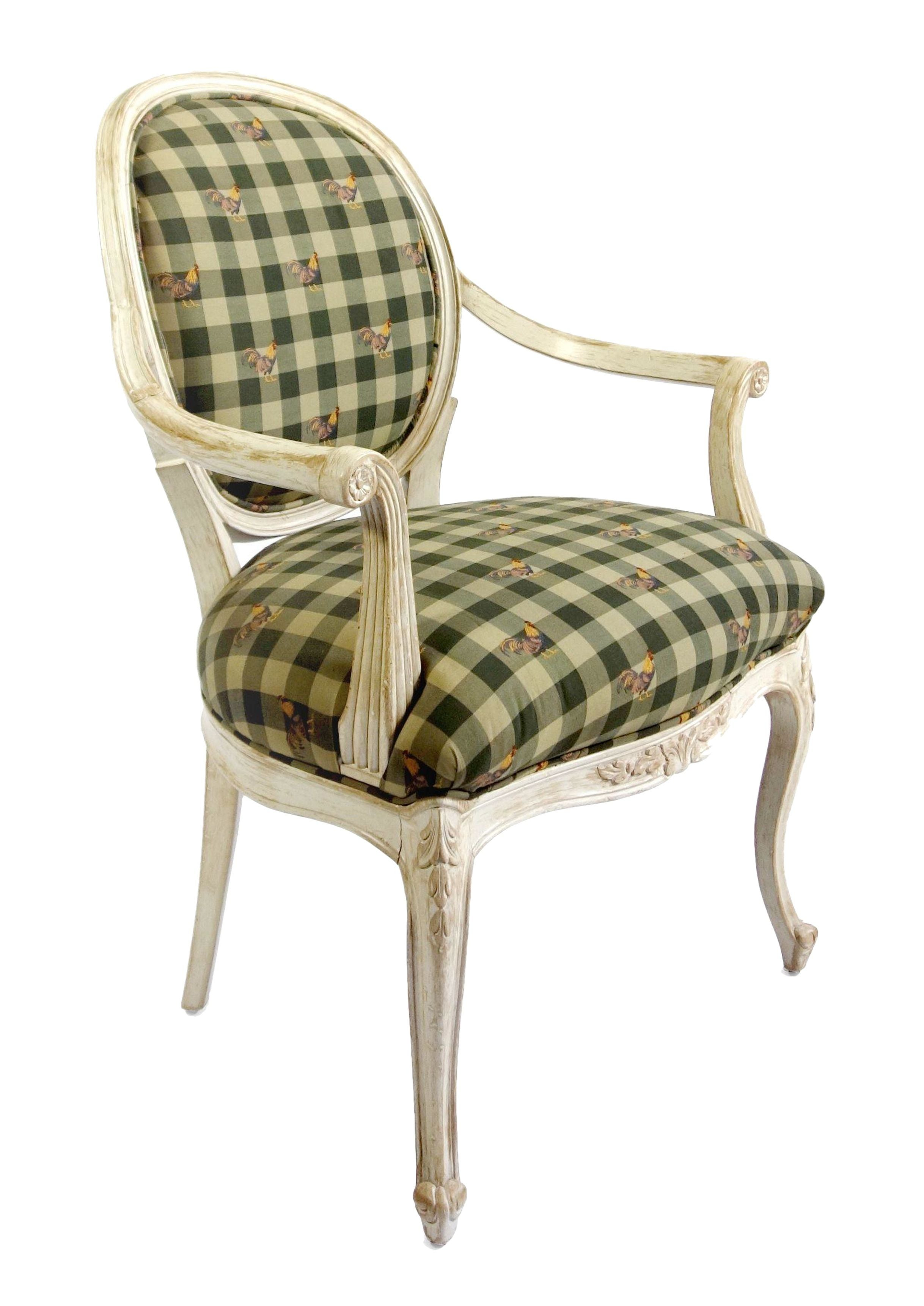 Superb Louis Style Chair With Gingham U0026 Rooster Fabric