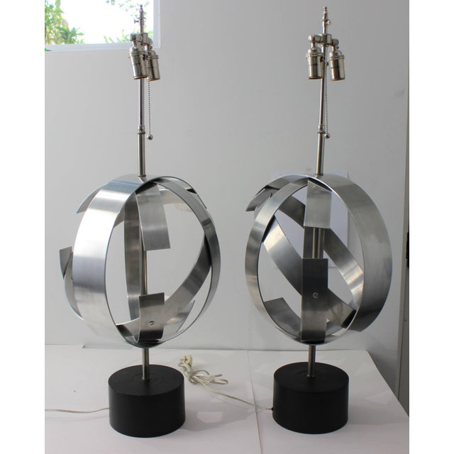 1970s Vintage Modern Armillary Style Stainless Steel Table Lamps - the Pair For Sale - Image 5 of 13