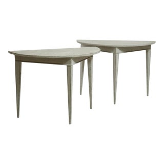 Gustavian Demi-Lune Console Tables - A Pair For Sale