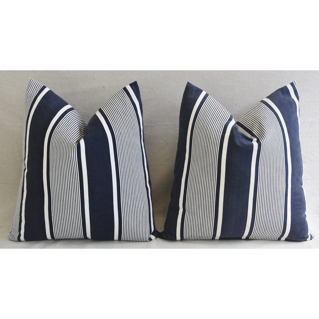 """Custom French Stripe Ticking Fabric Feather & Down Pillows 22"""" X 21"""" - a Pair - Image 7 of 11"""