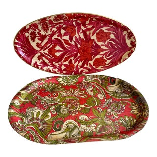Vintage Bamboo Bold Colorful Trays, Set of Two For Sale