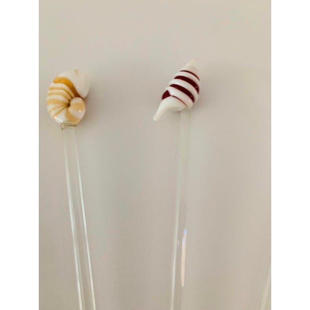 Late 20th Century Vintage Art Glass Coastal Beach Sea Shells Nautical Swizzle Sticks - Set of 6 For Sale - Image 5 of 9
