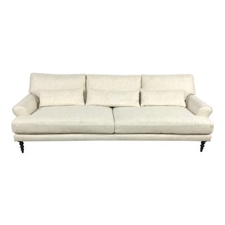 Beige Rolled Arm Sofa For Sale