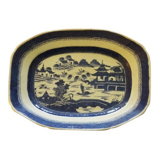 18th Century Antique Chinese Canton Blue and White Platter For Sale