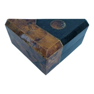 Vintage Coconut Shell and Tessellated Stone Triangular Box