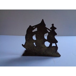 Vintage Brass Nautical Sailing Ship Bookend or Doorstop Preview