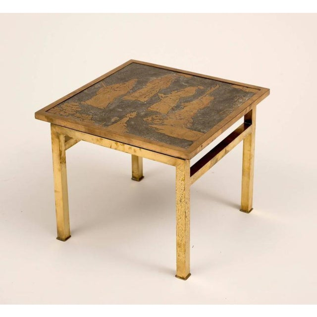 A Ming side table in etched bronze and pewter by Philip and Kelvin LaVerne. Signed. Made in the 1960s.