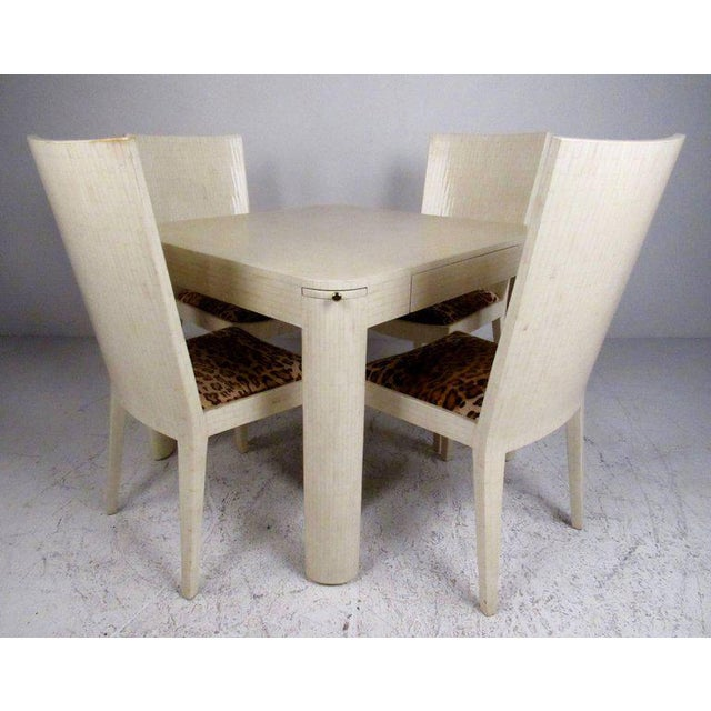 Textile Enrique Garcel Tessellated Bone Card Table With Chairs For Sale - Image 7 of 11