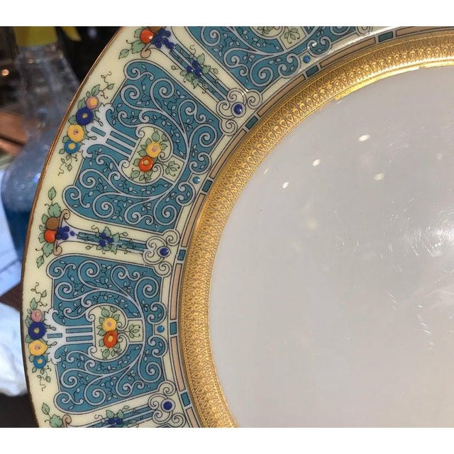 Blue Hand Enameled Blue and Gold Dinner Service Plates - Set of Eleven For Sale - Image 8 of 12