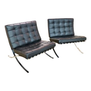 Original Pair of Black Barcelona Leather Chairs, Signed For Sale