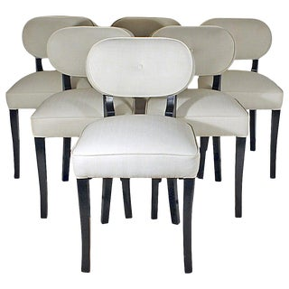 1940s Set of Six Art Deco Dining Chairs by De Coene, Beech, Fabric, Belgium For Sale