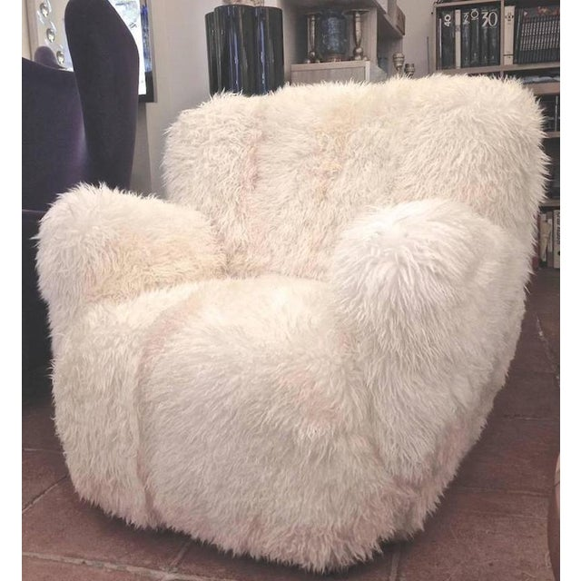 Viggo Boesen Viggo Boesen Pair of Hairy Club Chairs Covered in Sheep Skin Fur For Sale - Image 4 of 6