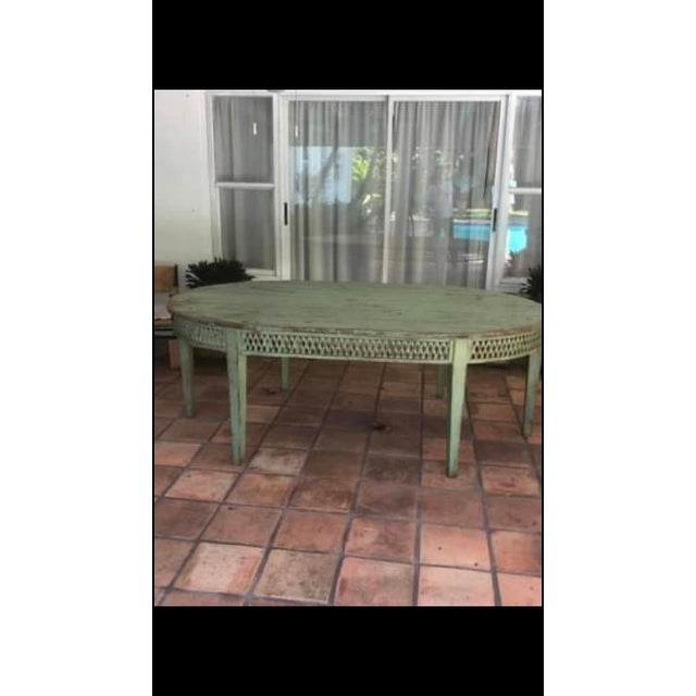 Wood Vintage Farmhouse Dining Table For Sale - Image 7 of 10