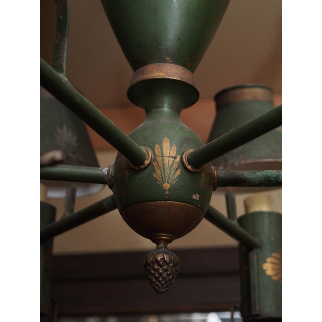 Early 20th Century Mid 20th Century Painted French Tole Chandelier For Sale - Image 5 of 7