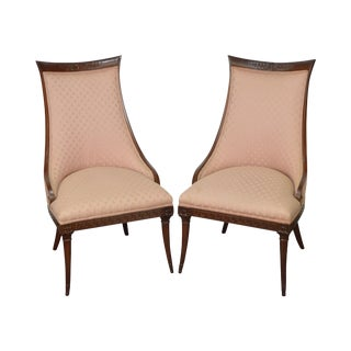 Mahogany Frame Regency Style Fire Side Host Chairs - A Pair