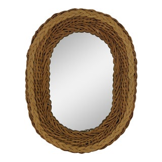 Boho Chic Mid 20th Century Natural Wicker Oval Wall Mirror