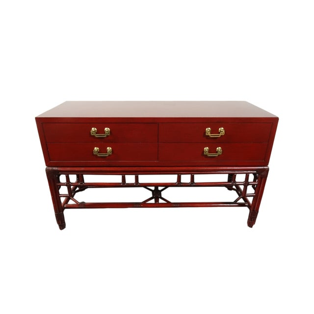 Ficks Reed Red Asian Sideboard Console - Image 7 of 11