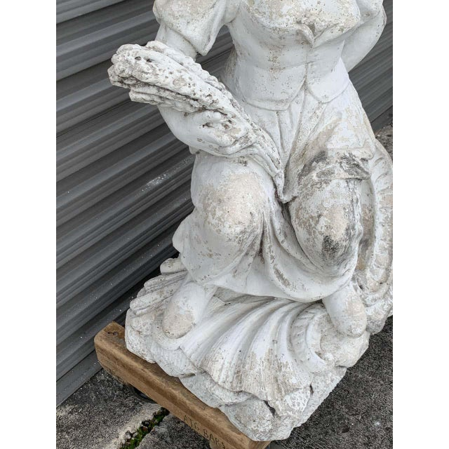 Large Versailles Style Cast Stone Statue of 'Harvest' on a Pedestal Base For Sale In West Palm - Image 6 of 12