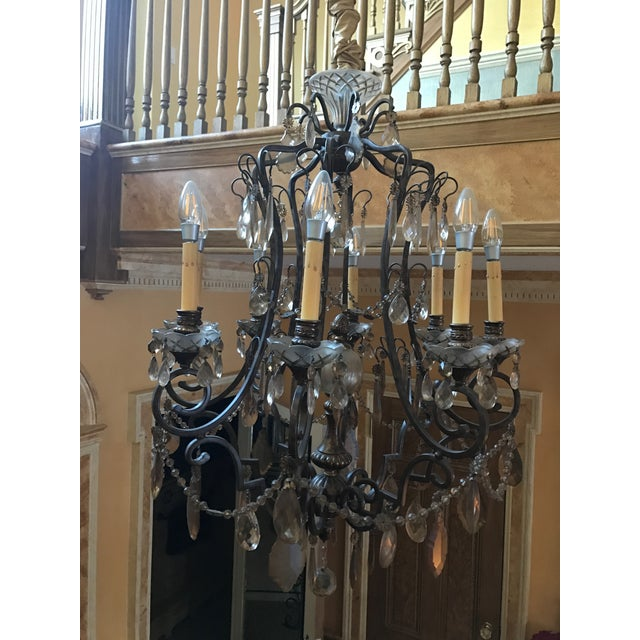 Bronze & Smoked Glass Wrought Iron Chandelier - Image 2 of 3