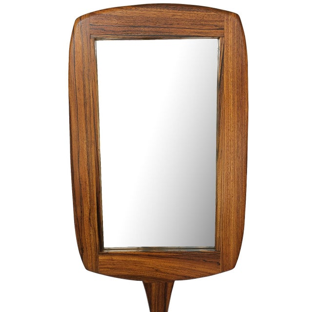 Glass Studio Craft Movement Carved Zebrawood Standing Floor Mirror For Sale - Image 7 of 13