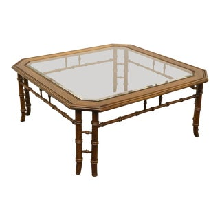 "Lane Asian Faux Bamboo With Glass Top 39"" Square Coffee Table For Sale"