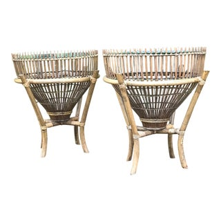 Vintage Rattan and Glass Fish Trap Side Tables - a Pair